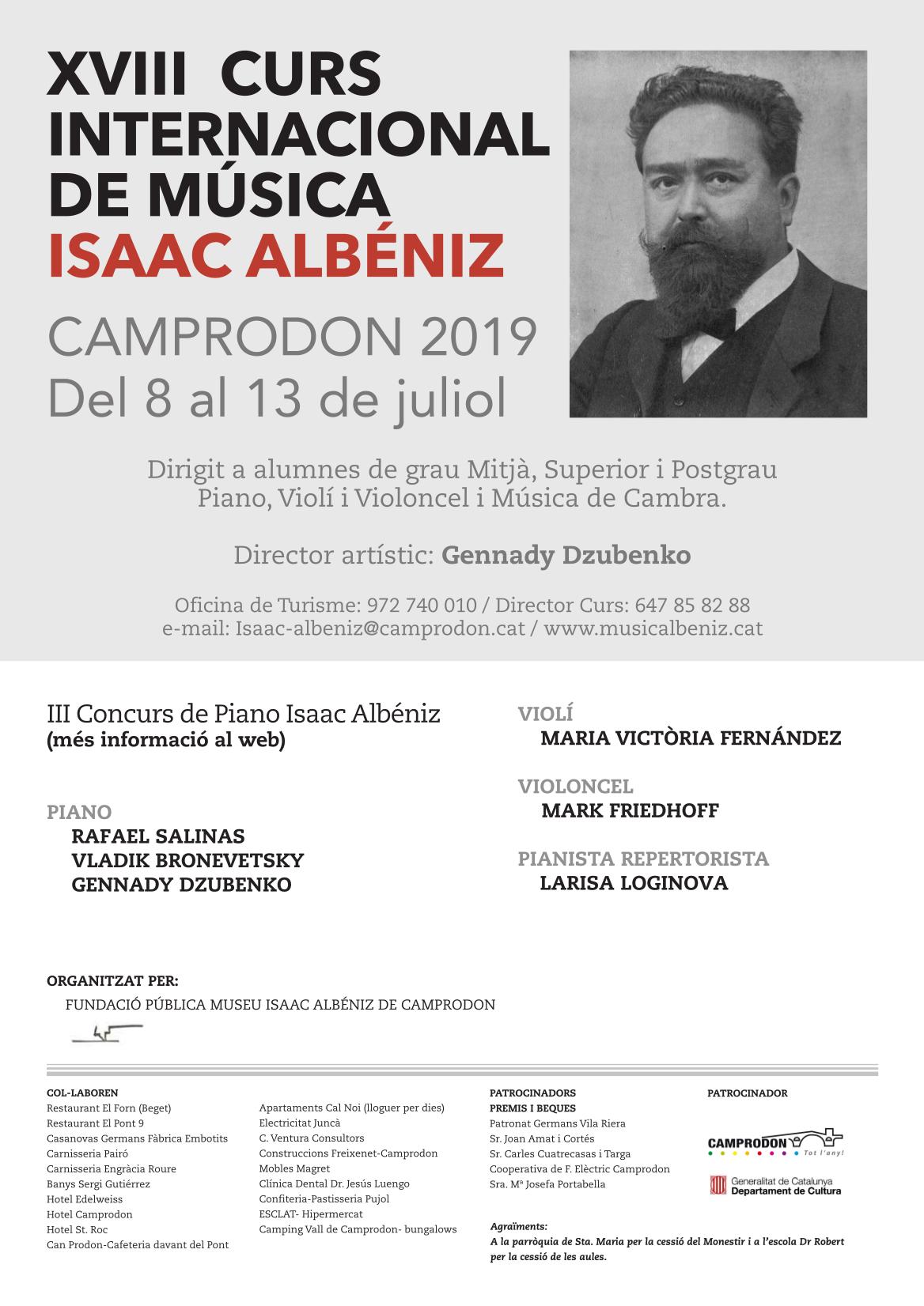 El CURS INTERNACIONAL DE MÚSICA ISAAC ALBÉNIZ DE CAMPRODON 2019